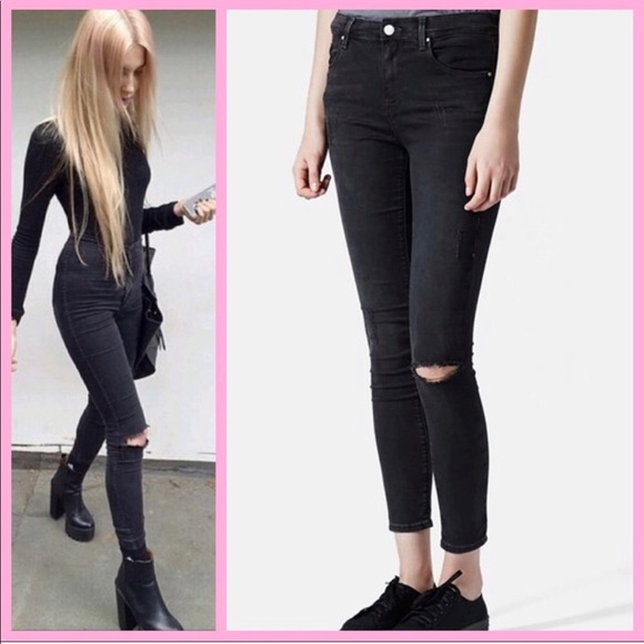 "Topshop Denim - TOPSHOP | MOTO ""Leigh"" Ripped Skinny Jeans"